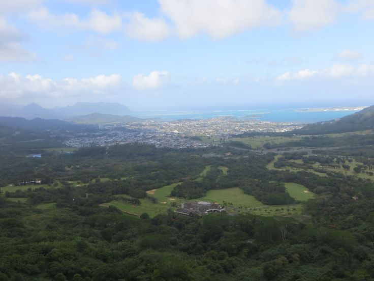 looking toward Windward Oahu from the Nu'uanu Pali Lookout.  The winds were knock-you-down fierce up there.